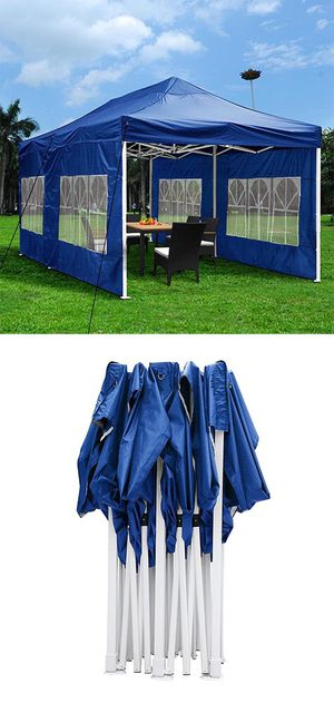 New $200 Heavy-Duty 10x20 Ft Outdoor Ez Pop Up Party Tent Patio Canopy w/Bag & 6 Sidewalls, Blue for Sale in Whittier, CA