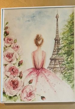 3 framed prints watercolor girls room nursery lady's office wall art decor framed prints Paris ballet floral princess for Sale in Roanoke,  TX