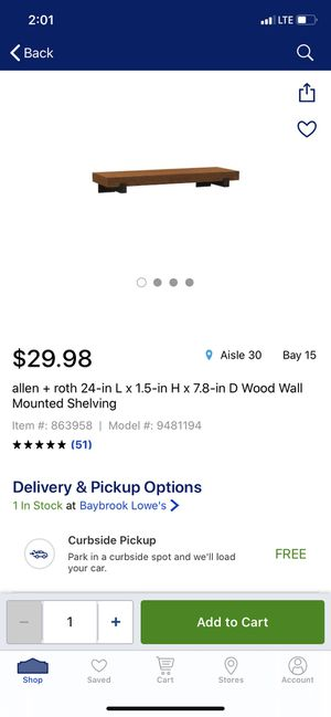 Allen +Roth 24-in l x 1.5-in h wood wall mounted shelving for Sale in Houston, TX