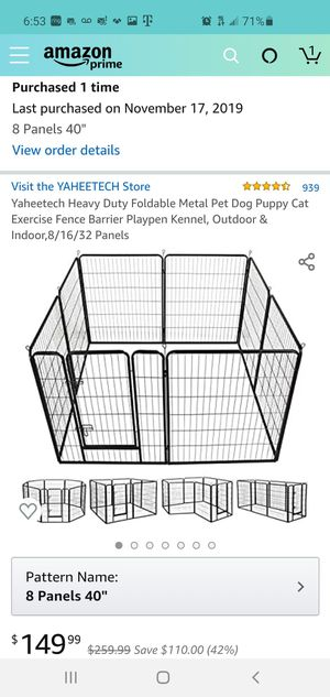 Heavy Duty Foldable Metal Pet Dog Puppy Fence Barrier Playpen Kennel for Sale in Chula Vista, CA