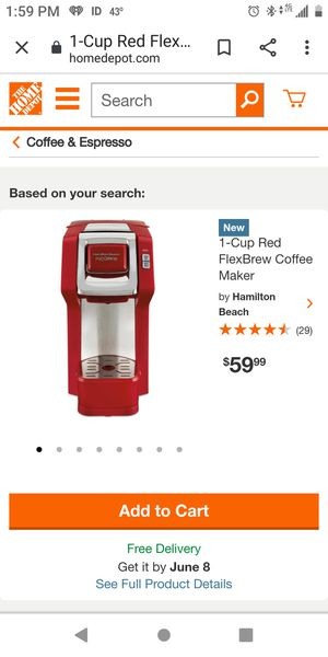 Hamilton Beach 1 cup red flex brew coffee maker for Sale in Binghamton, NY
