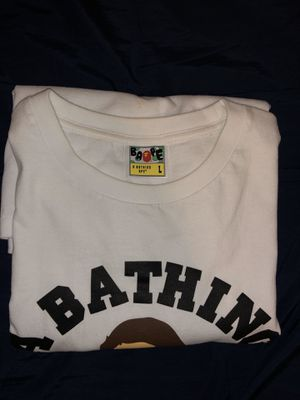 Bathing Ape (BAPE) College Long Sleeve White Tee for Sale in Los Angeles, CA
