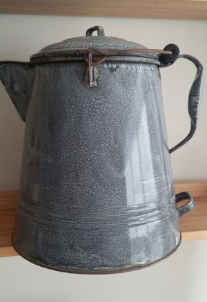 Antique Large Grey Enamel Chuck Wagon/Camping Coffee Pot W/Lid for Sale in Gaithersburg, MD