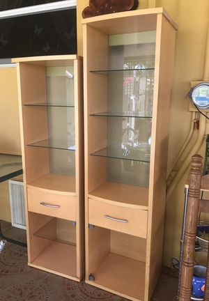 Light color wood shelves with glass for Sale in Hialeah, FL