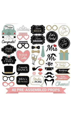 Brand New 40 Piece Wedding Photo Booth Props Pre-Assembled SHIPPING NATIONWIDE for Sale in Miami, FL