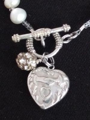 ❤STERLING SILVER 925 GENUINE PEARLS& HEART BRACELET~8 IN. for Sale in Zionsville, IN
