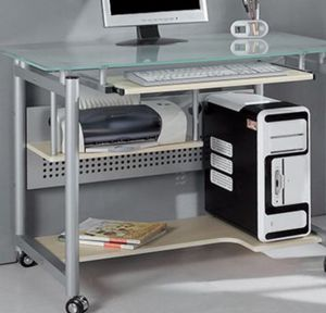 New!! Rolling computer desk, computer desk. Glass and metal for Sale in Phoenix, AZ