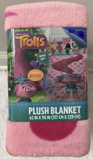 "Dreamworks Trolls Poppy Rocks Twin Plush Blanket 62"" X 90"", Brand NEW! Porch Pickup or Can Ship! for Sale in Roxbury Township, NJ"