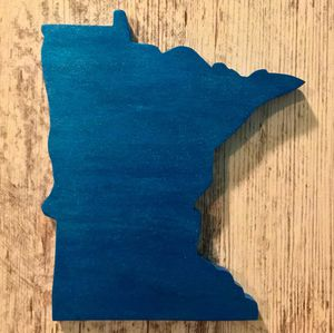 Shimmery Blue Minnesota Wood Sign for Sale in Rogers, MN