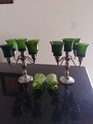 2 Vintage Candelabras for 40 dollars each. 5 movable branches each. Silver Plated with Green beaded Candle Holder. 2 Extras Crystals included. for Sale in Miami, FL
