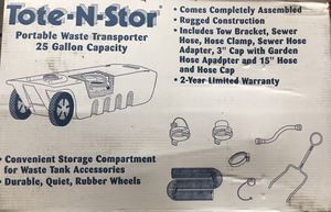 25 gallon Tote N Store, rv portable waste container for Sale in Kent, WA