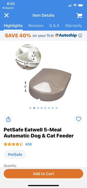 Scheduled automatic feeder bowl dog/cat/puppy training for Sale in Chicago, IL