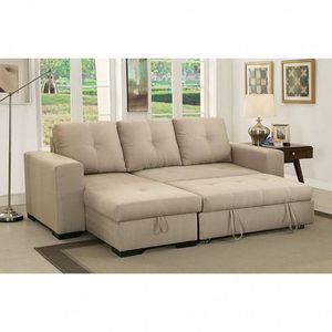 Beige convertible pullout sofa bed couch sectional/No Credit Needed No Credit Check Apply Today for Sale in Downey, CA