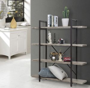 4 Tier Bookcase Solid 130lbs Load Capacity Industrial Bookshelf, Sturdy Bookshelves with Steel Frame, Storage Organizer Home Office Shelf GRAY for Sale in Ontario, CA