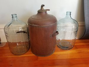Antique copper pot still/boiler and 2 5gal glass carboys for Sale in San Francisco, CA