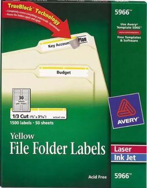 Avery Permanent File Folder Labels TrueBlock Inkjet/Laser Yellow Border 1500/Box for Sale in Denver, CO