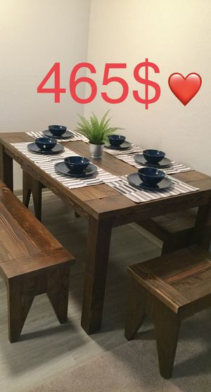 RUSTIC DINNER TABLE BENCHES: PATIO FURNITURE DINETTE ANTIQUE DINING STOOL COFFEE END NIGHT TV STAND DESK MESA SILLA SHELVES BOOKSHELF SHELF BED FRAME for Sale in Houston, TX