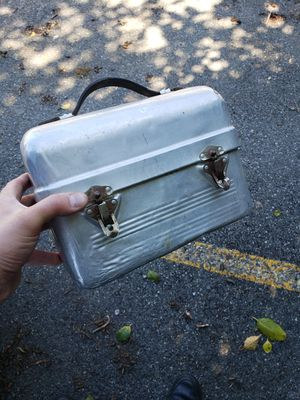 Vtg tin metal worker lunchbox leather handle for Sale in Granite Falls, WA