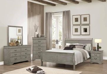 $799 4 PIECES QUEEN BEDROOM SET INCLUDED QUEEN BED FRAME DRESSER MIRROR AND ONE NIGHT STAND MATTRESS SOLD SEPARATE for Sale in Chino,  CA