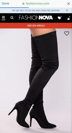 Fashion Nova Keyana Thigh High Boots Black Size 7.5 for Sale in Miramar, FL