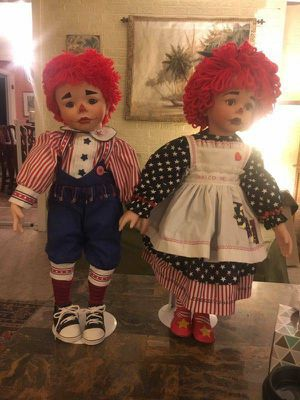 "Pair Raggedy Ann and Andy Doll w/ Stands, 2003, 26"", Kelly Reburt, Numbered for Sale in Dayton, OH"