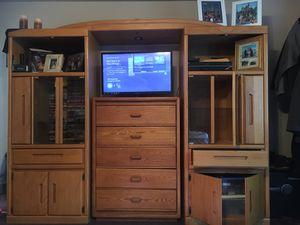 Oak wood. Glass shelves. Plenty of storage. Movie storage. Dresser and tv not included for Sale in Lake Stevens, WA