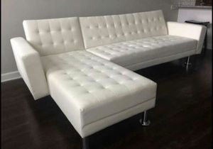 (BRAND NEW) White Leather Adjustable Sofa/ Chaise Futon for Sale in Stafford, TX