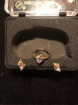 Women's gold Tanzanite ring with gold Tanzanite earrings for Sale in Livonia, MI