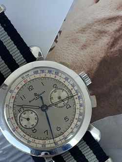 Rare Vintage Baume Mercier Geneve Watch. Striped NATO Strap Swiss made Landeron movement. Mint Condition. 40mm.Manual Wind Chronograph Functions. for Sale in Miami,  FL