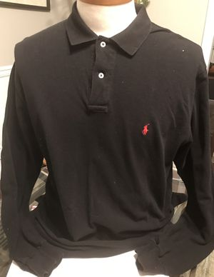 Polo Ralph Lauren Shirt Men's SZ Large Long Sleeve Black Red Pony 100% Cotton for Sale in Mableton, GA