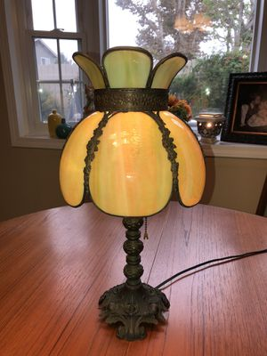 Vintage Tiffany style green glass swag desk lamp for Sale in Orange, CA