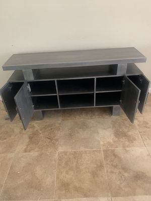 Tv stand gray with silver handles oak for Sale in San Diego, CA