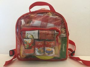 CAMPBELL'S SOUP, 2003, 39 PIECE PLAY FOOD SET IN SEE THRU BACK PACK for Sale in Ocoee, FL