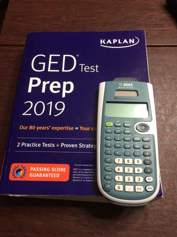 GED study guide and calculator.