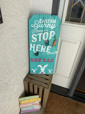 Handmade Easter Bunny Stop Here wood sign for Sale in Manteca, CA