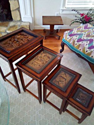 4 piece antique wooden nesting tables for Sale in Columbia, SC