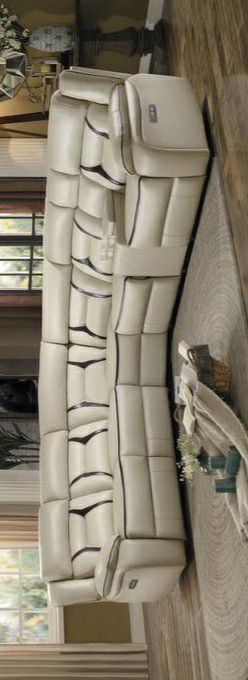 🍃the price is nice🍃Amite Beige Leather Gel Power Reclining Sectional for Sale in Jessup, MD