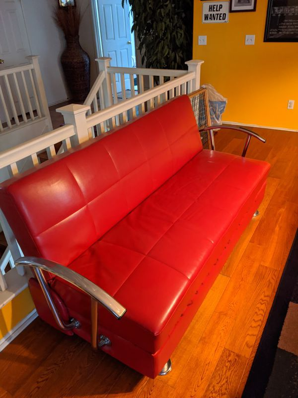 Red leather convertible futon