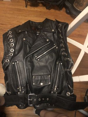 Jamin' Leather Chromed Out Leather Motorcycle Vest w/Chains #VM2001MCC for Sale in El Monte, CA
