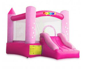 POPSPORT Inflatable Castle Bounce Outdoor Bounce Castle with Slider Blower Indoor Inflatable Bounce for Kids (9.5x6.5x6.5Ft Red Pink) for Sale in Rancho Cucamonga, CA