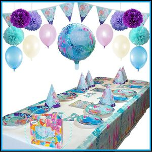 Mermaid Party Supplies Pack | Deluxe Mermaid Party Decorations & Favors for a Mermaid Birthday Party | Includes Plates, Cutlery, Table Cover, Balloon for Sale in Las Vegas, NV