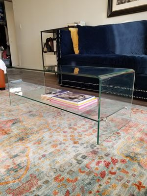 Glass coffee table/TV console w/ shelf for Sale in Chicago, IL