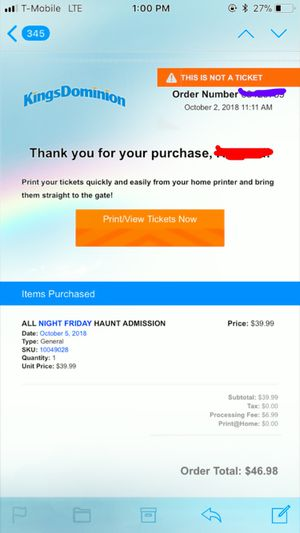 Kings Dominion Haunt Admission 10/05/2018 for Sale in Springfield, VA