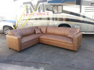 NEW 7X9FT CAMEL LEATHER SECTIONAL COUCHES for Sale in Cathedral City, CA