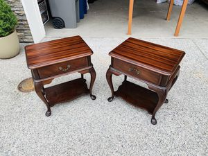 Beautiful Antique Pair of Mahogany Willi Jablinski Bedside Nightstands Tables for Sale in Everett, WA
