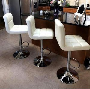Set of 3 white chairs bar stools new in box for Sale in Clifton, NJ
