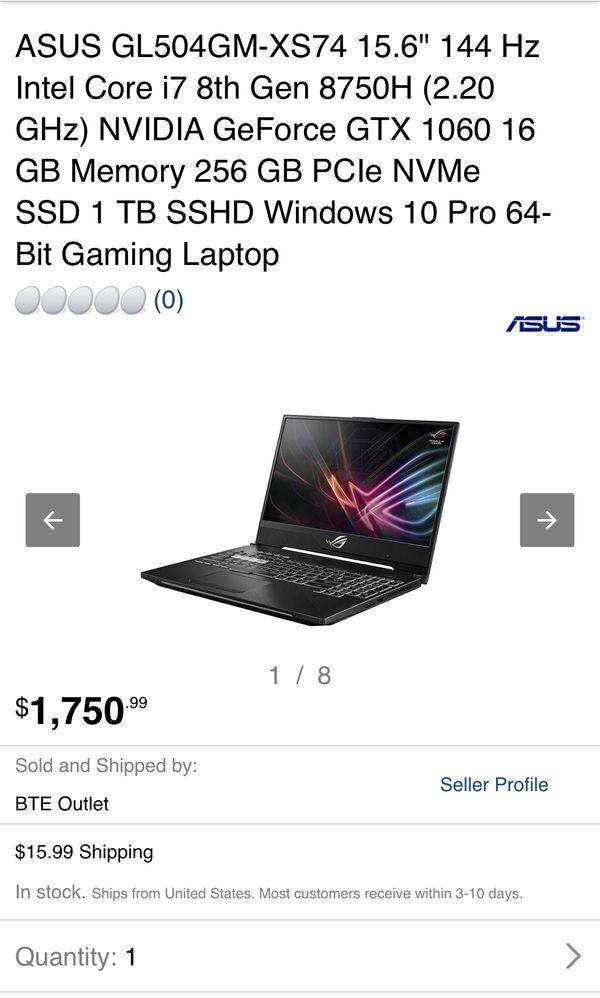 "ASUS GL504GM-XS74 15.6"" 144 Hz Intel Core i7 8th Gen 8750H (2.20 GHz) NVIDIA GeForce GTX 1060 16 GB Memory 256 GB PCIe NVMe SSD 1 TB SSHD Windows 10"