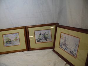 3 VTG Art Painting Philadelphia Art Institute Ben Franklin Bridge M.W Ingersoll for Sale in Clifton Heights, PA