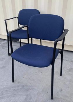 NEW $30 each HON HVL616 Stacking Guest Arm Chair 23x21x33 Inch Tall Fabric Cushion Stackable Office Restaurant Dining Chair Navy Seat removable wheel for Sale in Covina,  CA