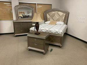 👉$39 Down Payment 👈👍 Cristal Gold LED Panel Bedroom Set for Sale in Jessup, MD